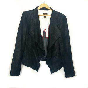 Danier Black Leather Graphic Lined Jacket - Size L